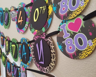 80s Birthday Party Banner, 80s Party, 80s Banner, 80s Party Supplies, 80s Party Decor, 80s Decor, 80s Decorations, 80s Birthday