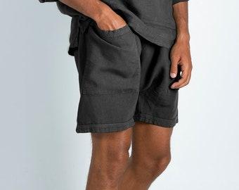 Linen black shorts. AMMOS SHORTS. Anthracite Black pure linen HAREM Shorts for men. Simple, trendy, comfortable, quality soft linen.