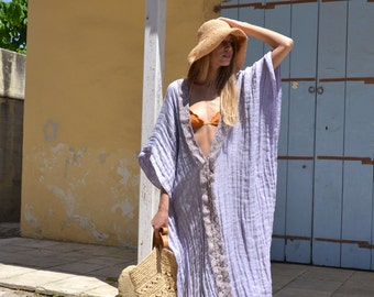 CLEO long poncho. Violet super soft linen tunic. Delicate lace trimming.