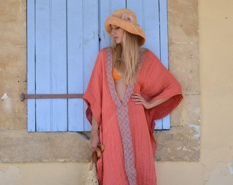 CLEO. Coral red stylish linen poncho. Light weight beach coverup with lace.