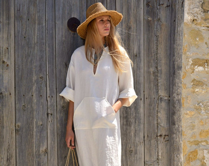 JEFF caftan. Chalk white color. Women's long tunic. Soft light linen.