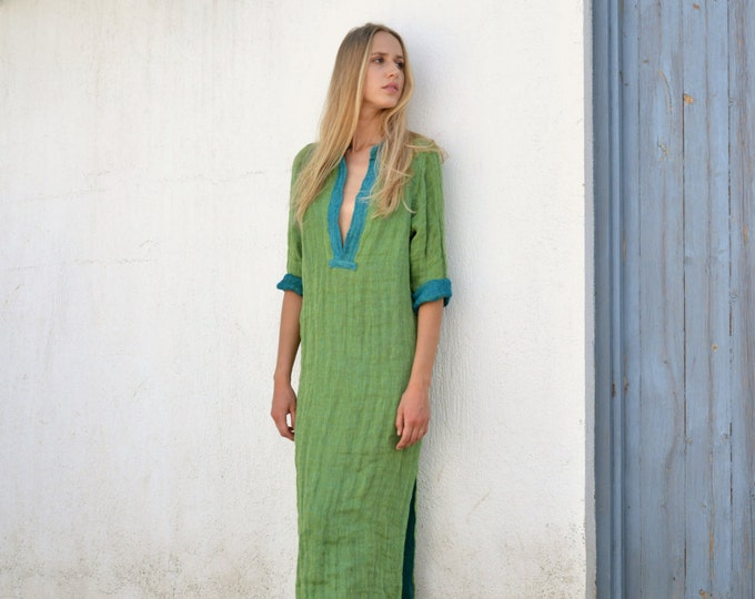 EMMA. Elegant mint long shirtdress. Relaxed soft pure linen caftan.