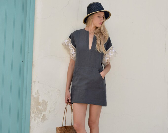 MARGOT mini Black pure linen dress with pocket. Mini kaftan with cotton lace sleeves.