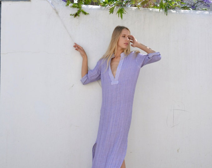 EMMA. Beautiful long purple color shirtdress. Softened pure linen sexy dress.