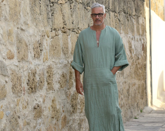 CLASSICO. Mens linen tunic. Almond green caftan. Hood optional.