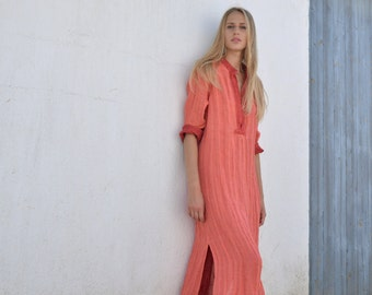 EMMA. Coral red linen shirtdress. Maxi ethereal soft linen tunic.