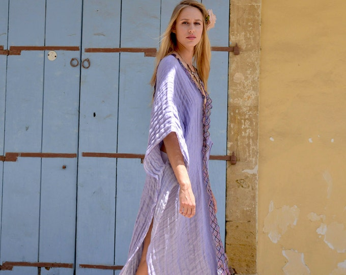 CLEO. Purple ultra soft linen long poncho. Beautiful cotton lace detail. Beach cover up.