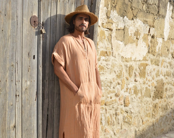 CLASSICO. Soft orange mens linen contemporary tunic. Short sleeved caftan with front pocket.