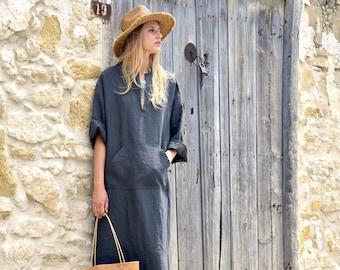 JEFF caftan. Black minimal tunic. Pure linen kaftan for women. Unique minimal design.