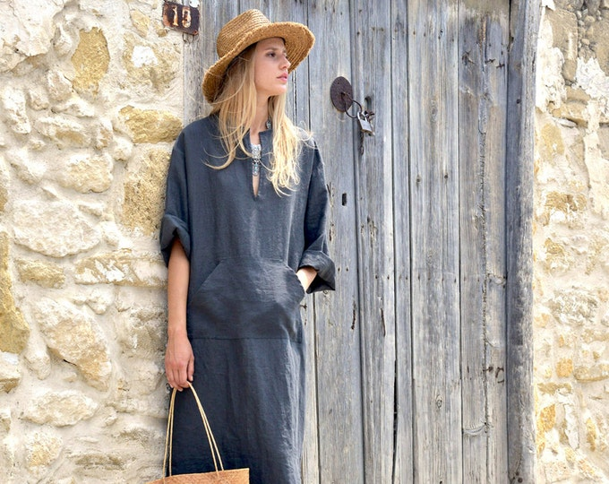 JEFF caftan. Black minimal tunic. Pure linen kaftan for women. Unique minimal design.