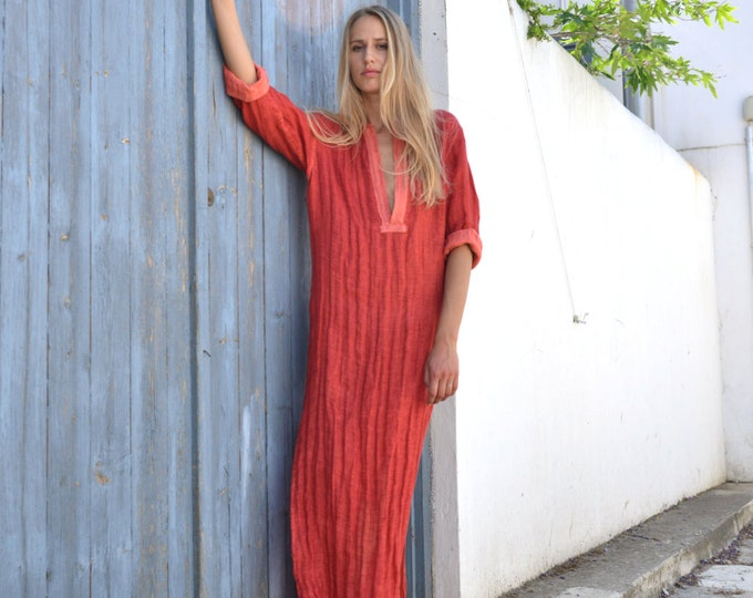 EMMA. Scarlet red maxi tunic. Unique pure linen shirtdress.