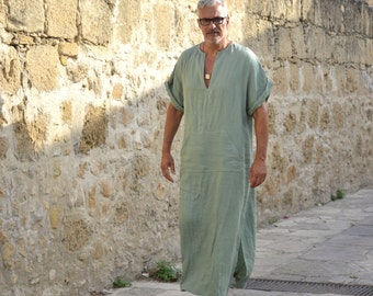 CLASSICO. Almond green relaxed linen tunic. Stylish short sleeved mens beachwear with pocket