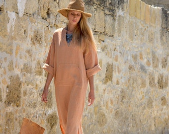 JEFF caftan. Soft orange pure linen women's kaftan. Long tunic. Loose comfortable fit.