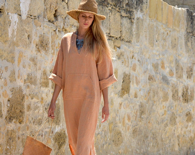 JEFF caftan. Soft orange pure linen women's kaftan. Long tunic. Loose comfortable fit.