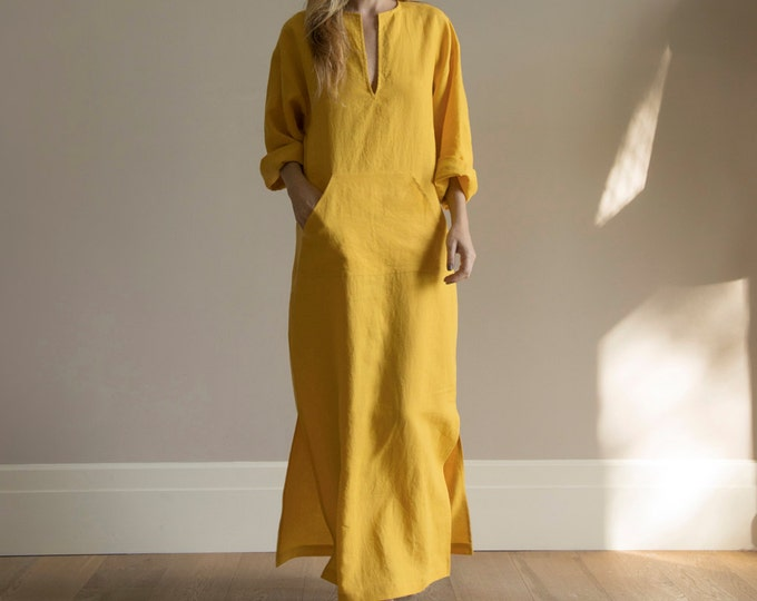 JEFF Curry color unique design women's kaftan. Pre washed linen. Simplicity and elegance for her.