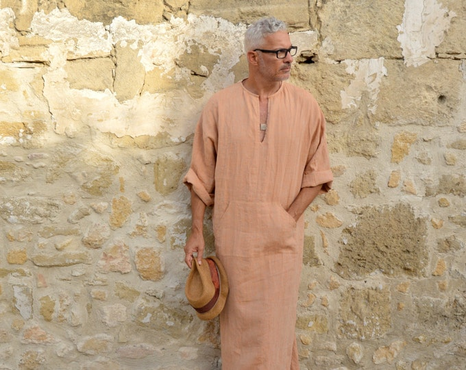 CLASSICO. Mens soft orange linen tunic. Hood optional. Front pocket.