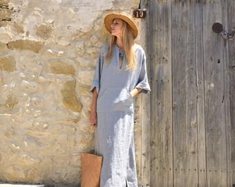 JEFF caftan. Cloudy grey soft wrinkled tunic. Pure linen beachwear.