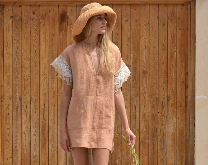 MARGOT mini soft orange dress with cotton lace sleeves. Wrinkled pre washed pure linen caftan.