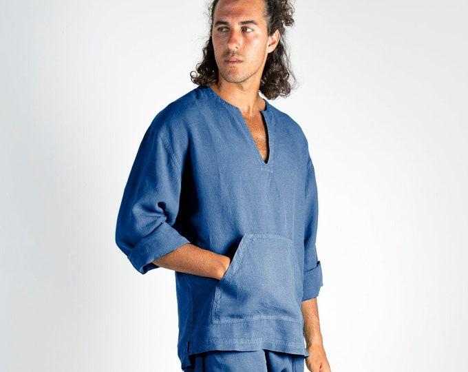 Linen top for men blue. PETRA TOP. Blue pure linen Tunic for men. Simple, contemporary, comfortable, quality soft linen.