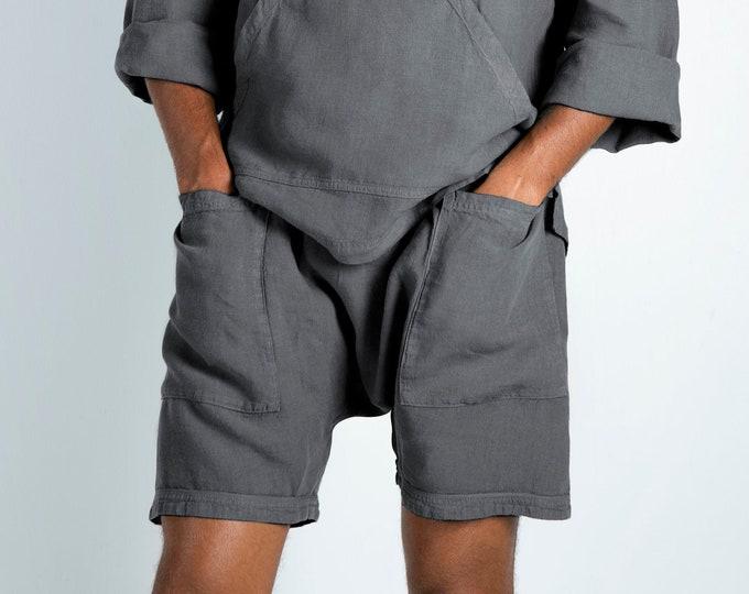 Linen Grey Shorts. AMMOS SHORTS. Lead Grey pure linen HAREM Shorts for men. Simple, trendy, comfortable, quality soft linen.