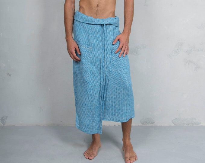 SICILY. Men's turquoise woven linen pareo with pocket. Lightweight pure linen.LUX COLLECTION
