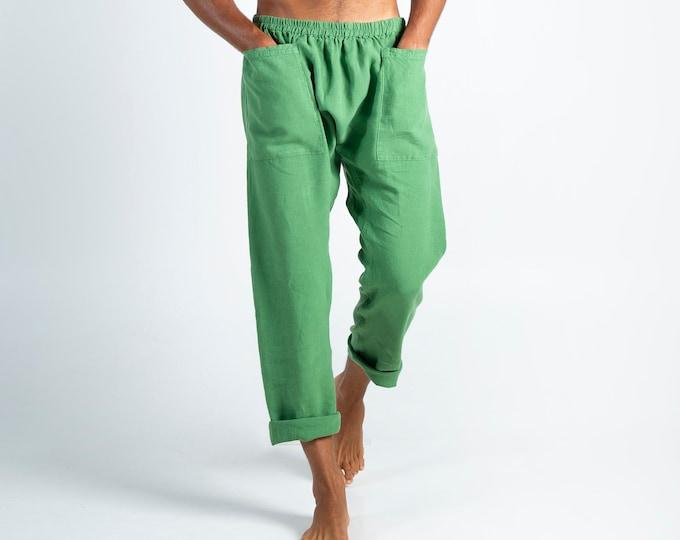 Mens linen trousers. PETRA PANTS. Roman Green pure linen Pants for men. Simple, contemporary, comfortable, quality soft linen.