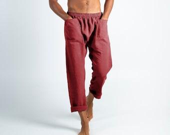 Linen pants for men.PETRA PANTS. Ancient Red pure linen Pants for men. Simple, contemporary, comfortable, quality soft linen.