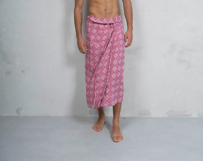 SICILY. Men's Cherry Red pareo with pocket. Patterned woven pure linen. LUX COLLECTION