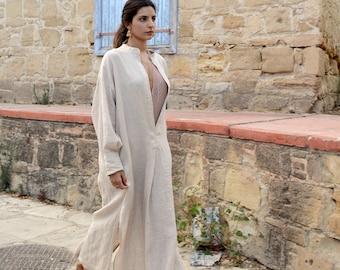 ANAIS women linen caftan. Powder Pink, ONE SIZE, cool dress for women. Pure soft linen. Oversized,Loose fit.