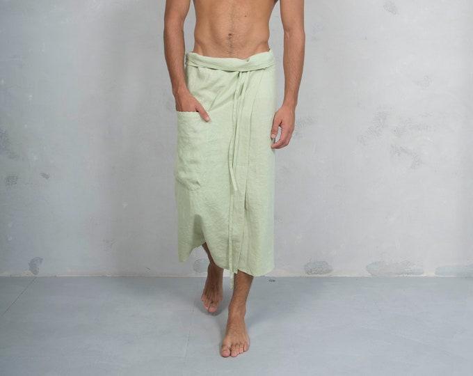 SICILY. Men's Green Tea pareo with pocket. Pure linen.