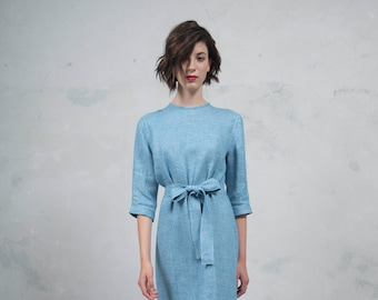 BIANCA turquoise long dress. Luxurious woven patterned linen. Straight cut with belt. Soft feel. *Lux collection*