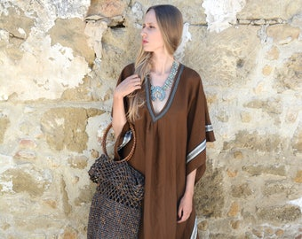 ERATO coffee brown, ONE SIZE, tunic for women. Pure soft linen. Oversized,Loose fit.