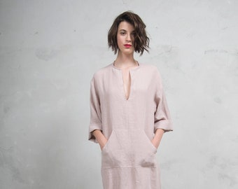 JEFF caftan. Desert Rose color. Quality pure linen garment with front pocket and optional hood. Unique minimal design.