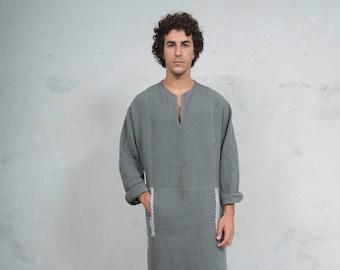 MINOAN. Lead Grey, soft pure linen long kaftan for men. Front pocket. Striped linen ribbon.