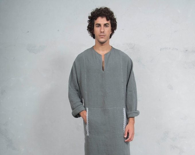 MINOAN. Lead Grey, soft pure linen long kaftan for men. Front pocket. Striped linen ribbon.