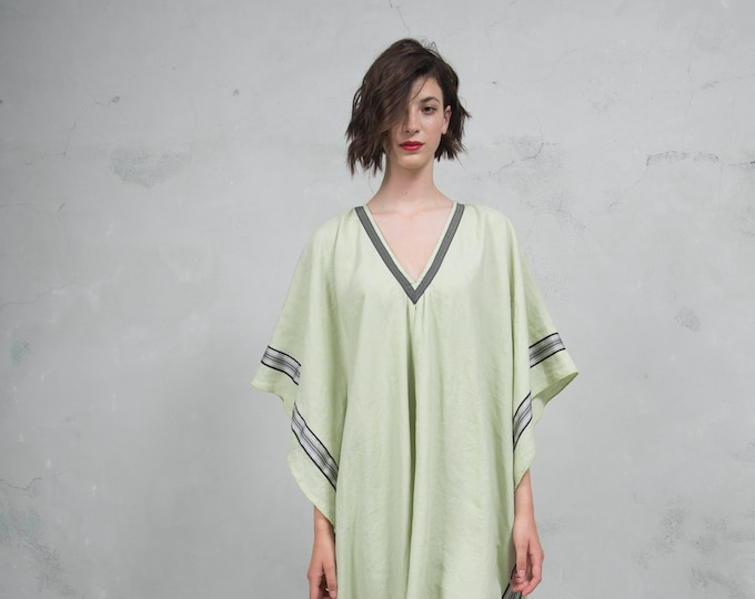 ERATO green tea ONE SIZE, tunic for women. Pure soft linen. Oversized,Loose fit.