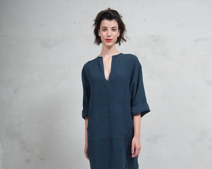 JEFF caftan. Navy Blue tunic. Pure linen kaftan for women. Unique minimal design.