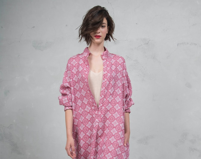 ANAIS cherry red pure woven linen caftan. Oversized loose fit. ONE SIZE luxury linen tunic. *Lux collection*