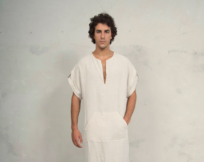CLASSICO Shortsleeved. Mens Natural color linen kaftan. Front pocket.