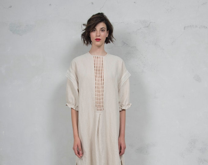 RHEA natural color pure linen caftan. Side pockets. Oversized loose fit. ONE SIZE. Cotton lace embelishment. *Lux collection*