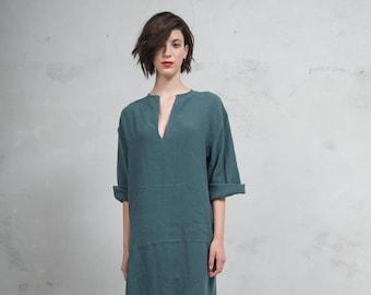 JEFF caftan for women. British Green tunic. Quality pure linen garment. Unique minimal design.