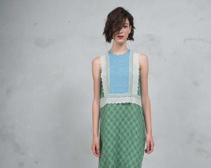 EDEN green/turquoise. Luxurious woven patterned linen. Straight cut dress with cotton lace. *Lux collection*