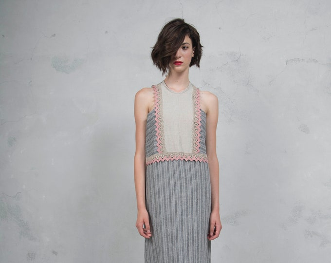 EDEN grey/natural. Luxurious striped linen dress with pink cotton lace. Straight cut. *Lux collection*