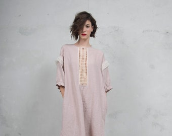 RHEA desert rose linen caftan. Side pockets. Oversized loose fit. ONE SIZE. Cotton lace embelishment. *Lux collection*