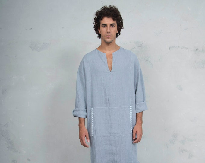 MINOAN. Cloudy Grey, soft pure linen long kaftan for men. Front pocket. Striped linen ribbon.