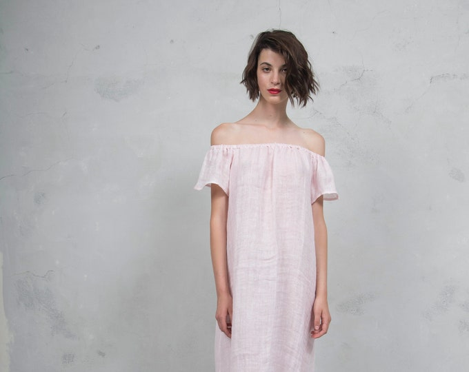 SAVANAH pink pure ultra soft linen dress.  ONE SIZE. Quality linen. *Lux collection*