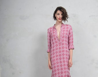 EMMA cherry red woven linen with pattern.  Quality linen shirtdress. *Lux collection*