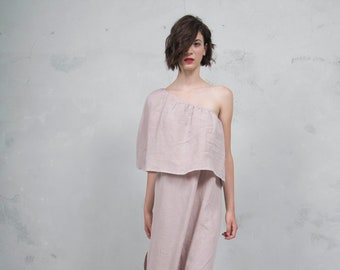 ICON desert rose one shoulder linen dress. High quality ultra soft linen fabric *Lux collection*