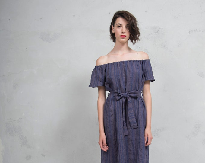 SAVANAH purple striped ultra soft linen dress.  ONE SIZE. Quality linen. *Lux collection*