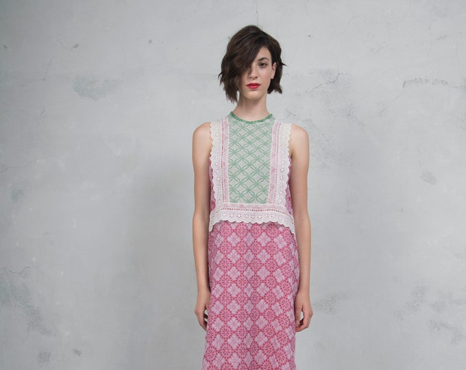 EDEN cherry/green sand. Luxurious woven patterned linen. Straight cut dress with cotton lace. *Lux collection*
